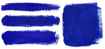 Colpi blu del pennello di gouache Fotografia Stock Libera da Diritti