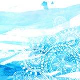 Colpi blu della spazzola dell'acquerello con la mano bianca royalty illustrazione gratis
