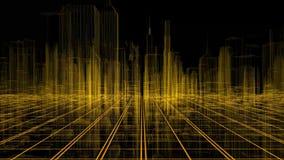 Colpi che volano attraverso la città digitale con concetto di tecnologia 3d animazione 3D 4K UHD 3840x2160 illustrazione di stock