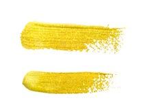 Colpi della spazzola dell'oro giallo Fotografie Stock Libere da Diritti