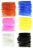 Colpi delle matite di colore impostati Fotografia Stock
