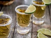 Colpi di tequila con l'orlo del sale Fotografia Stock