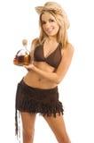 Colpi di Tequila del Cowgirl Immagine Stock