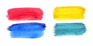Colpi dipinti a mano della spazzola dell'acquerello messi Fotografia Stock Libera da Diritti
