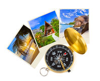 Colpi e bussola della spiaggia di estate Fotografie Stock