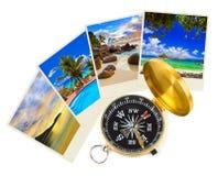 Colpi e bussola della spiaggia di estate Immagini Stock