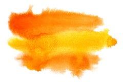 Colpi giallo arancione della spazzola dell'acquerello Fotografia Stock