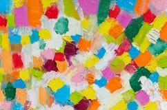 Colpi multicolori della spazzola del quadrato dell'olio Struttura di vista superiore per un fondo dell'aletta di filatoio fotografia stock