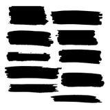 Colpi neri della spazzola di vettore di pittura Fotografia Stock Libera da Diritti