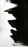 Colpi neri della spazzola su Libro Bianco con una mano isolata Immagini Stock