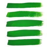 Colpi verdi della spazzola dell'inchiostro Immagine Stock Libera da Diritti