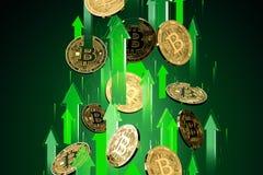 Colpi verdi delle frecce su con alta velocità come aumenti di prezzi di Bitcoin BTC I prezzi di Cryptocurrency si sviluppano, ad  illustrazione di stock