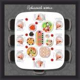 Colpisca i pasti serviti per ricevere gli ospiti nel ristorante illustrazione vettoriale