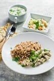 Colpisca il ristorante, l'opzione del menu, il filetto alla Stroganoff, l'insalata verde e la minestra di pollo immagini stock libere da diritti