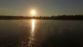 Colpo aereo al rallentatore del nuotatore al tramonto archivi video