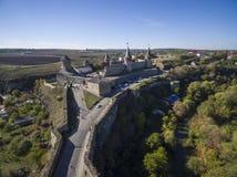 Colpo aereo del castello di Kamianets-Podilski Fotografia Stock