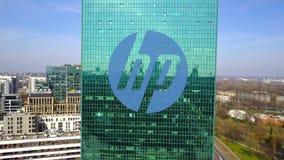 Colpo aereo del grattacielo dell'ufficio con HP inc marchio Edificio per uffici moderno Rappresentazione editoriale 3D Fotografia Stock Libera da Diritti