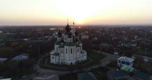 Colpo aereo del video tipico della chiesa 4k del russain stock footage