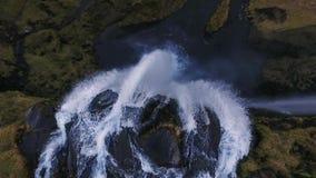 Colpo aereo della cascata di Seljalandsfoss archivi video