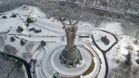 Colpo aereo della città con Kiev senza equipaggio Ucraina Immagini Stock Libere da Diritti