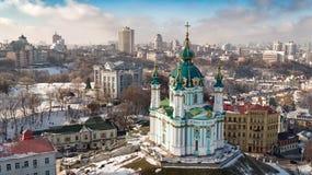 Colpo aereo della città con Kiev senza equipaggio Ucraina Fotografia Stock