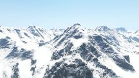Colpo aereo delle montagne nevose e di chiaro cielo archivi video