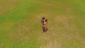 Colpo aereo di giovane coppia che bacia in un parco tropicale archivi video