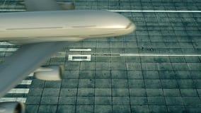 Colpo aereo di grande atterraggio di aeroplano commerciale sulla pista dell'aeroporto rappresentazione 3d Immagine Stock