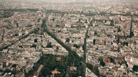 Colpo aereo di paesaggio urbano di Parigi, Francia di elevata altitudine Immagini Stock