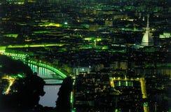 Colpo aereo II di notte di Torino Italia Fotografia Stock Libera da Diritti