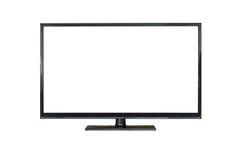 Colpo anteriore dello schermo del plasma TV isolato su bianco Fotografia Stock Libera da Diritti