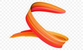 Colpo arancio acrilico del pennello Vector il pennello a spirale luminoso di pendenza 3d con struttura vibrante su fondo traspare illustrazione vettoriale