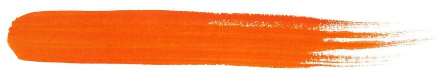 Colpo arancio del pennello di gouache Fotografia Stock