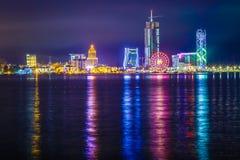 Colpo Batumi Georgia di notte fotografia stock libera da diritti