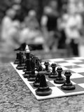 Colpo in bianco e nero delle scacchiere di Kyiv Fotografia Stock Libera da Diritti