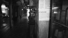 Colpo in bianco e nero di corridoio video d archivio