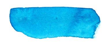 Colpo blu della spazzola dell'acquerello disegnato a mano immagini stock