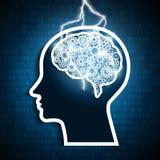 Colpo del bullone di fulmine negli ingranaggi del cervello umano Concetto di intelligenza illustrazione vettoriale