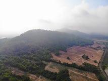 Colpo del fuco che sorvola la valle della montagna e del campo di grano Montagne blu, montagne verdi all'aperto della natura del  fotografia stock