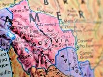 Colpo del fuoco della Bolivia Sudamerica macro sulla mappa del globo per i blog di viaggio, i media sociali, le insegne del sito  Fotografia Stock Libera da Diritti