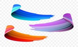 Colpo del pennello acrilico Vector l'arancia luminosa, il velluto o il pennello porpora e blu di pendenza 3d su fondo trasparente illustrazione di stock