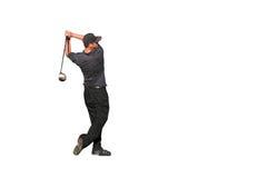 Colpo del T del giocatore di golf isolato Immagini Stock Libere da Diritti