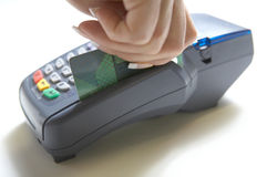 Colpo del terminale della carta di credito Fotografie Stock Libere da Diritti