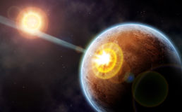 Colpo della cometa contro il pianeta del deserto Fotografia Stock