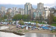 Colpo di angolo alto del giorno dell'annuale 4-20 del ` s di Vancouver Fotografia Stock Libera da Diritti
