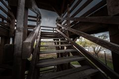 Colpo di angolo della scala di Woden Fotografia Stock