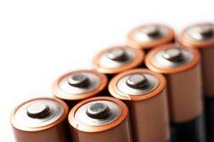 Colpo di macro delle parti superiori delle batterie di aa Fotografie Stock