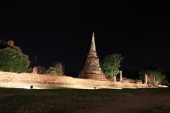 Colpo di notte di piccolo stupa incompleto nelle rovine del resti antico al tempio di Wat Mahathat fotografie stock libere da diritti