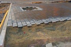 Colpo di pietra di angolo del marciapiede Fotografie Stock