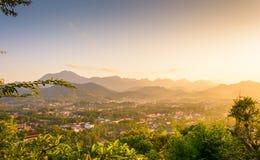 Colpo di pra di Luang nel tramonto Immagine Stock Libera da Diritti